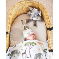 Safari | Baby Jersey Wrap & Beanie Set